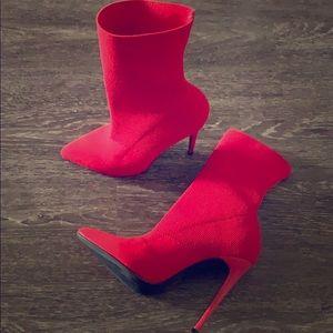 Steve Madden Red Sock Booties